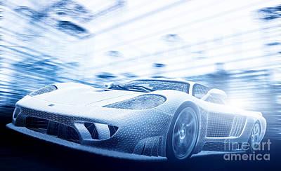 Speed Photograph - Concept Car Model In Blueprint by Michal Bednarek