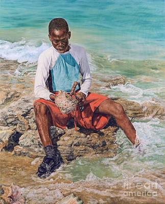 Painting - Conch Boy II by Roshanne Minnis-Eyma