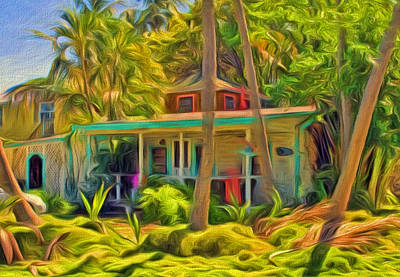 Photograph - Conch Key Cottage With Palm Trees by Ginger Wakem