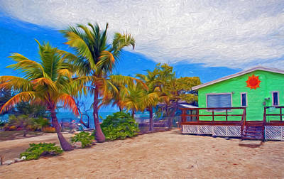 Photograph - Conch Key Green Cottage With Sun Face by Ginger Wakem