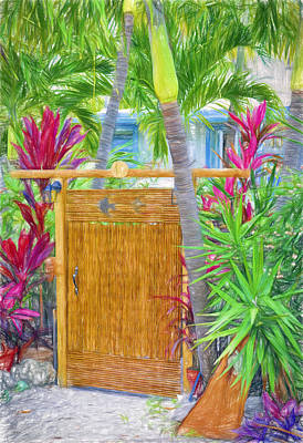 Photograph - Conch Key Wicker Gate 4 by Ginger Wakem