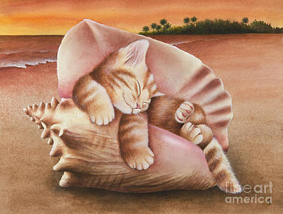 Caribbean Sea Painting - Conch Kitten by Carolyn Steele