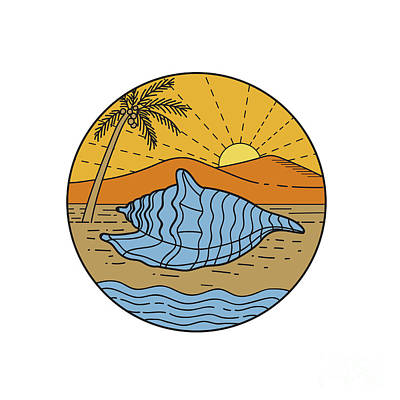 Coconuts Digital Art - Conch Shell On Beach Mountain Sun Coconut Tree Mono Line by Aloysius Patrimonio
