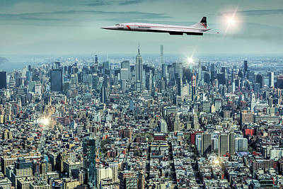 Concord Over Manhattan, New York City, Ny. Art Print