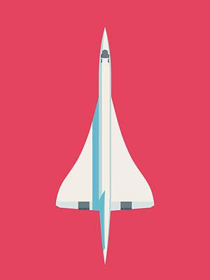 Concorde Digital Art - Concorde Jet Airliner - Crimson by Ivan Krpan