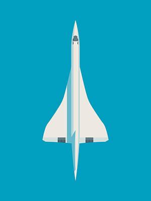 Airways Digital Art - Concorde Jet Airliner - Blue by Ivan Krpan