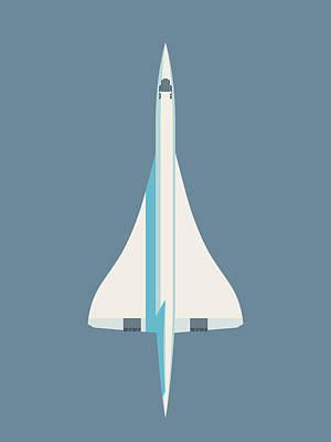 Concorde Jet Passenger Airplane Aircraft - Slate Art Print
