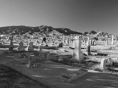 Photograph - Concordia Cemetery In Black And White by Allen Sheffield