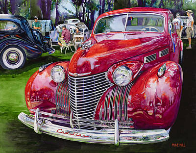 Forties Painting - Concours' Cadillac by Mike Hill
