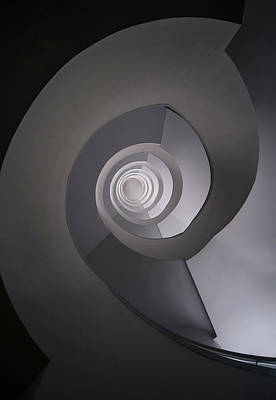 Art Print featuring the photograph Concrete Abstract Spiral Staircase by Jaroslaw Blaminsky