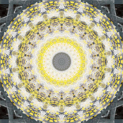 Concrete And Yellow Mandala- Abstract Art By Linda Woods Art Print