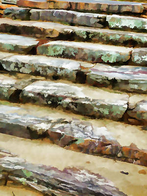 Wooden Stairs Painting - Concrete Steps by Lanjee Chee