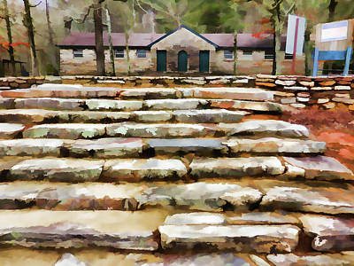 High Park Fire Painting - Concreter Steps At Cheaha Park by Lanjee Chee