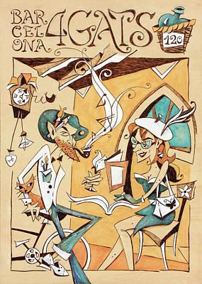 Barcelona Drawing - Concurs Cartell 120 Anys - Restaurant 4 Gats Barcelona by Arte Venezia