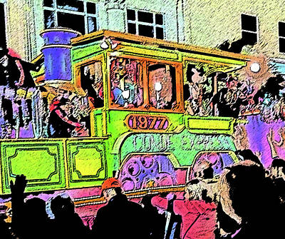 Tourist Attraction Digital Art - Conde Cavaliers Train Engine by Marian Bell
