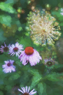 Photograph - Cone Flower In Dow Gardens 3 Painterly by Mary Bedy