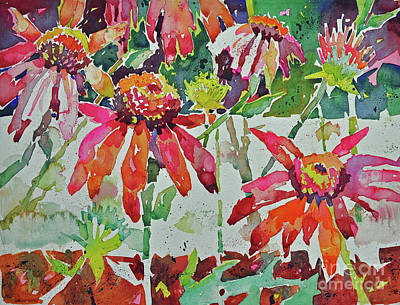 Painting - Cone Flowers And  Three Bands by Roger Parent