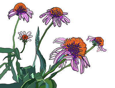 Painting - Cone Flowers by Jamie Downs