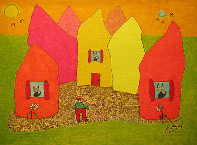 Painting - Cone-shaped Houses Man With Dog by Lew Hagood