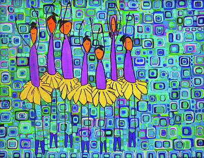 Art Print featuring the painting Coneflower Ballet by Donna Howard