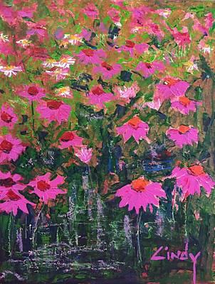 Flowerfield Painting - Coneflower Field Magenta  by Cindy McLean