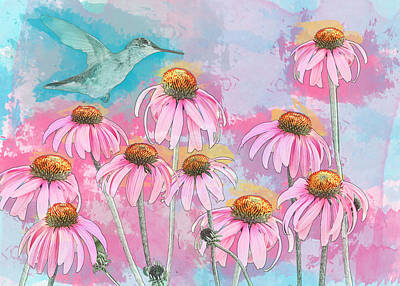 Coneflower Hummingbird Watercolor Art Print