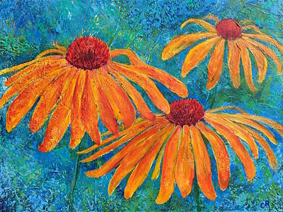 Print featuring the painting Coneflower Trio by Chris Rice