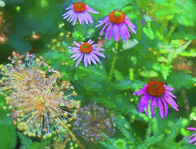 Photograph - Coneflowers In Dow Gardens 2 Painterly by Mary Bedy