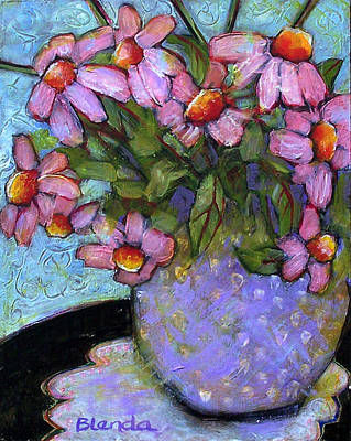 Interior Still Life Painting - Coneflowers In Lavender Vase by Blenda Studio