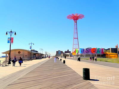 Photograph - Coney Island Boardwalk by Ed Weidman