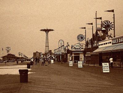 Photograph - Coney Island Boardwalk Sepia Tone by Jonathan Sabin
