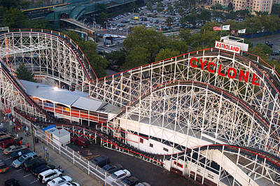 Cyclone Rollercoaster Photograph - Coney Island Cyclone by James Kirkikis