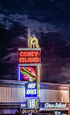 Photograph - Coney Island Night by Bob Bernier