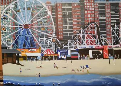 Cyclone Rollercoaster Painting - Coney Island, Ny  by Tina Mostov
