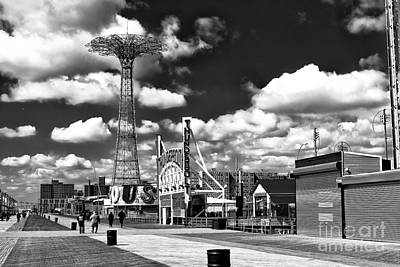 Photograph - Coney Island Rides On The Boardwalk by John Rizzuto