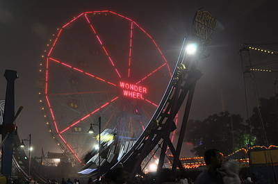 Photograph - Coney Island Wonder Wheel In Fog by Diane Lent