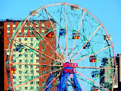 Photograph - Coneys Wonder Wheel by Ed Weidman
