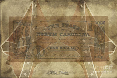 Digital Art - Confederate $1 North Carolina Note by Melissa Messick