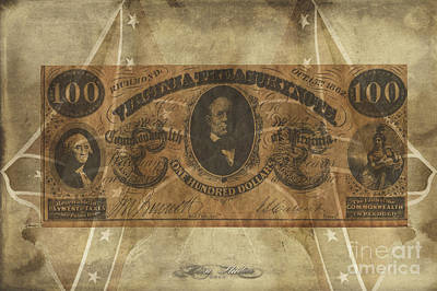Digital Art - Confederate $100 Virginia Note by Melissa Messick