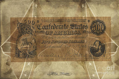 Digital Art - Confederate $500.00 Note by Melissa Messick