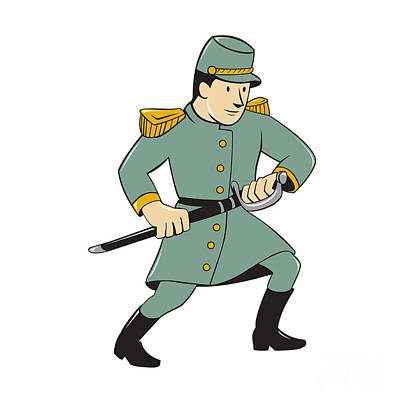 Sword Cartoon Digital Art - Confederate Army Soldier Drawing Sword Cartoon by Aloysius Patrimonio