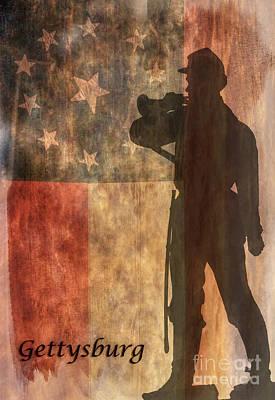 Confederate Flag And Bugler Gettysburg  Art Print by Randy Steele