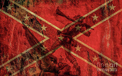 Confederate Flag And Mississippi Monument Art Print by Randy Steele