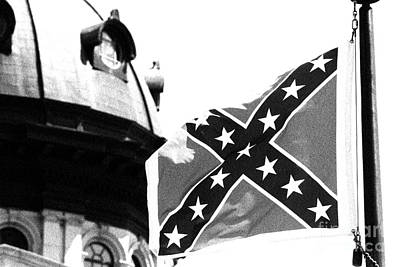 Photograph - Confederate Flag Bw by Joseph C Hinson Photography