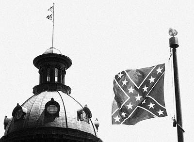 Photograph - Confederate Flag In Black And White by Joseph C Hinson Photography