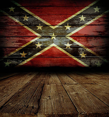 Confederate Flag On Wall Art Print by Les Cunliffe