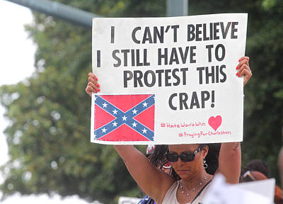 Photograph - Confederate Flag Protestor 1 by Joseph C Hinson Photography