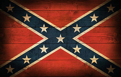 Aged Wood Digital Art - Confederate Flag by Taylan Apukovska