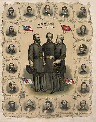 Hero Wall Art - Painting - Confederate Generals Of The Civil War by War Is Hell Store