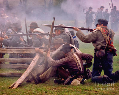 Photograph - Confederate Infantry Firing Line On Breastwork  by Cynthia Staley